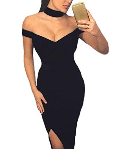 Bigood Robe de Cocktail soirée cérémonie Femme Robes Fendues Sexy Epaule Nue Moulante Elégante Noir