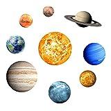 3D Universe-Wand-Aufkleber-Glühen in den dunklen Sterne und Planeten Helle Sonnensystem Sun Earth Mars Glowing Decke Boden Fliesenaufkleber Aufkleber für Kinderzimmer Wohnzimmer Badezimmer