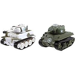 Juguetrónica - Micro Tanks Game, pack de 2 tanques radiocontrol MOD A+B, color verde y blanco (JUG0137)