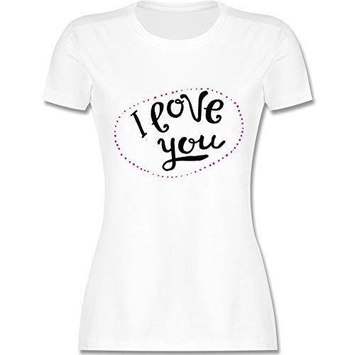 Valentinstag - I Love You Herzen aus Bällen - tailliertes Premium T-Shirt mit Rundhalsausschnitt für Damen Weiß
