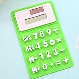 XIAOYANJIA Mini-Rechner Ultra-kleine tragbare niedliche Untersuchung Kleine faltende ultradünne Solar-Silikon-Soft-Tastatur-Rechner, grün