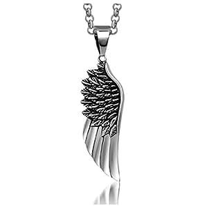 SanJiu Jewelry Stainless Steel Men Necklace Angel Wings Pendant Gothic Biker Punk Rcoker Classic Pendant for Men Boys Silver