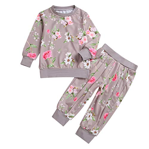 12f815855e1c3 puseky Baby Girls Flower Long Sleeve Sweatshirt+Pants Tracksuit Outfits  Sets (2-3