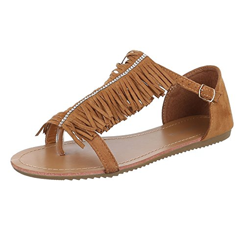 Damen Schuhe, B19L-SF, SANDALEN FRANSEN ZEHENTRENNER Camel