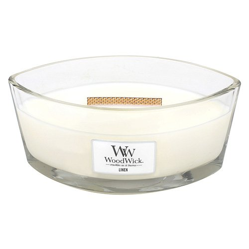 -[ WoodWick Linen HearthWick Candle, White  ]-