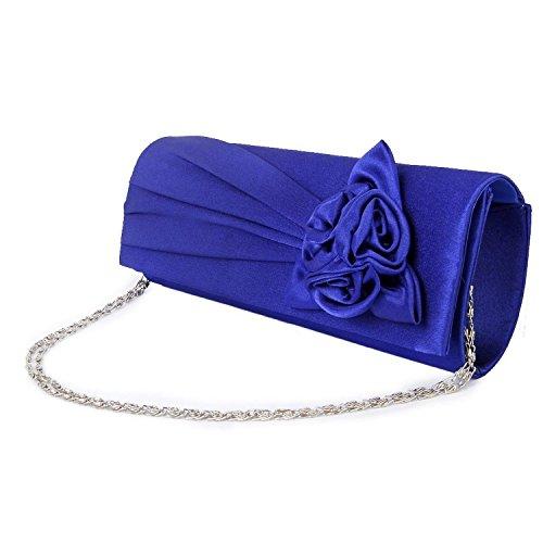 hellodd Damen Abend Handtasche Clutch mit Schulterriemen Satin Rose königsblau