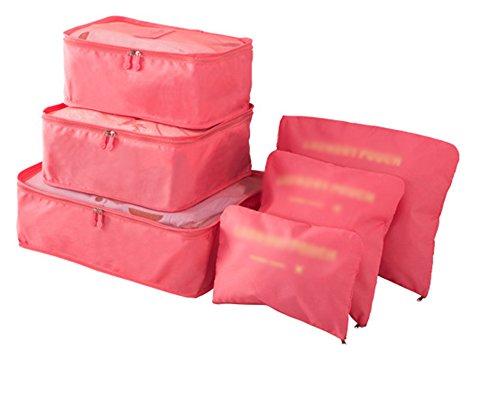 Ysddian- Reise-Aufbewahrungstasche 6 Sätze von tragbaren Kleidung Sortierung Gepäck Klassifizierung Kosmetiktasche Reisen waschen Tasche Geschäftsreise (Farbe : Pink)