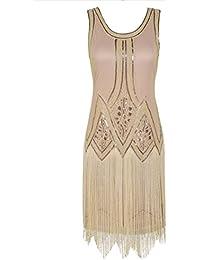 Kayamiya Donna Retro Ispirato 1920s Paillettes Perlina Arte Deco Vestito  Frangia Flapper 0cec5725a85