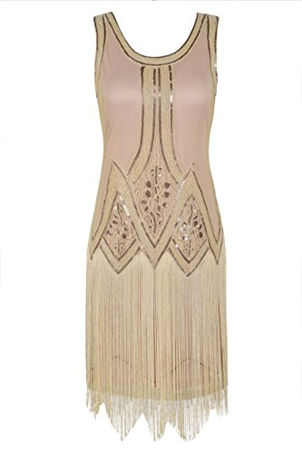 Kayamiya Damen Retro Inspiriert 1920er Paillette Perlen Art Deco Franse Flapper Kleid S Pures (Kostüme Elegante Flapper Erwachsene Kleid)