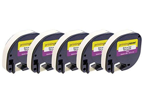 5 Rollen DYMO LetraTag S0721550 12267 12mm x 4m Schwarz auf Transparent Etikettenband Kunststoff kompatibel für DYMO LetraTag LT-100H LT-100T LT-110T QX50 XR XM 2000 Plus