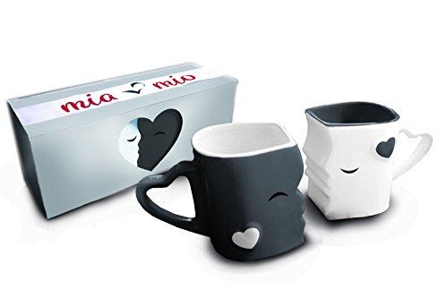 Mia ♥ Mio - Kaffeetassen/Küssende Tassen Set aus Keramik (Grau)