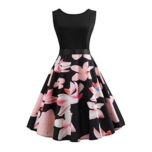 ESAILQ Damen Winterkleider rückenfreies Langarm elegant Chiffon dunkelblau rosa gestreift Hippie Shirtkleid Neckholder Bunte weißes Kleid kurz (XL,Rosa)