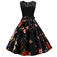 Fankle Women's Vintage Lace Patchwork Cocktail Swing Party Dresses 1950s Classy Rockabilly Retro Floral Pattern Print Crew Neck Sleeveless A-Line High Waist Evening Dress(Black,M)
