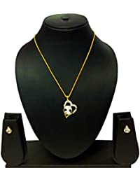 KAAYRA Traditional Diamond Gold Plated Pendant Set With Chain And Earring For Girls
