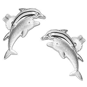 Clever Schmuck Silberne Damen Kinder Ohrstecker Delfinpaar 11 mm matt und glänzend STERLING SILBER 925 für Damen oder Kinder