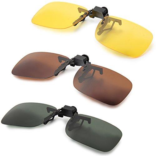 Aroncent Kleine Sonnenbrillen-Clip für Brillenträger, Braun Gelb Grün