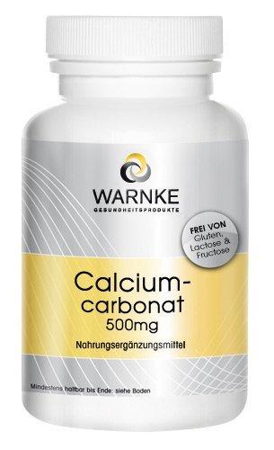 Carbonato de calcio – productos para la salud Warnke – 188mg de Calcio – paquete grande – 500 pastillas masticables – Vegano