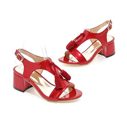 VogueZone009 Donna Punta Aperta Tacco Medio Fibbia Frange Sandali Rosso