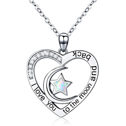 Kette Herz Damen 'ich liebe dich'Halskette 925 Sterling Silber Opal Mond und Stern Anhänger Feiner Schmuck Geschenk für Mutter,Mama,Mädchen Kinder mit Box(Kette Herz) (Mond Anhänger Halskette)
