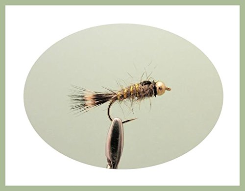 12Stück gold Bead Hasen Ohr Nymphe Forelle Fliegen, gemischt Größe 10/12/14und 16