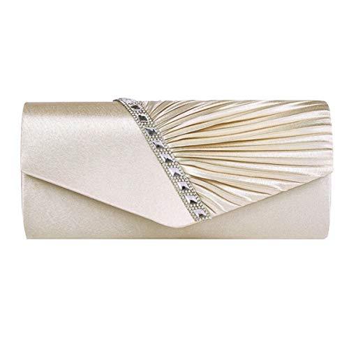 AiSi Damen Satin Clutch Strass Abendtasche mit Kette mini Handtasche für Hochzeit (Beige)