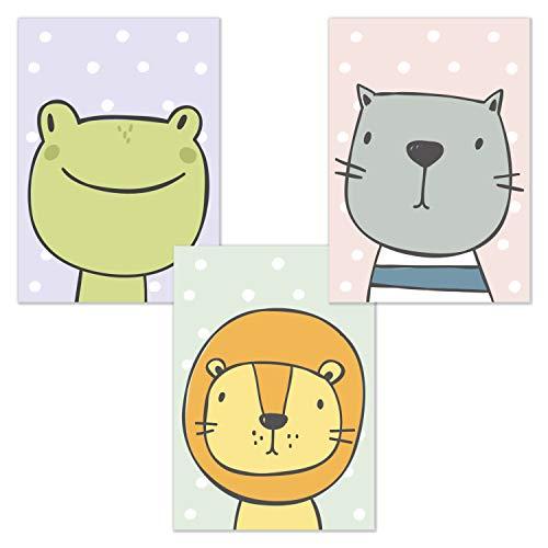 kizibi Kinderzimmer Poster 3er Set DIN A4 Comic Tiere | ohne Bilderrahmen | Babyzimmer Frosch Löwe Katze (Set 02)