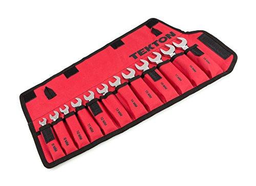 TEKTON WRN01190 Jeu de clés courtes avec pochette de rangement enroulable, 8 mm - 19 mm, 12-pièces