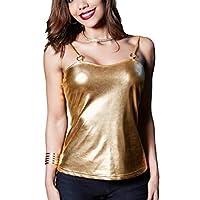 GRMO Womens Metallic Slim Fit Sexy Club Tank Tops Cami Blouse Shirt Golden US L