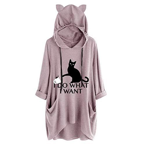 Madmoon Damen Unisex Schulterfreier Pullover Sweatshirts mit Kapuze Kapuzenpullover Hoodie Frauen-beiläufiges Druck-Katzen-Ohr-mit Kapuze langärmliges Taschen-unregelmäßiges Spitzenblusen-Hemd -