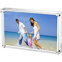 Cadre de Photo Magnétique, Cadres de Photos Acryliques AmeiTech, Porte 15 x 20 cm de Photos, 10 + 10 mm D'épaisseur, écran Sans Carte de Fond Pour Carte Postale - Transparent