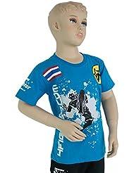 4Fighter KIDS AZUL camiseta azul retro con diseños modernos y elegantes