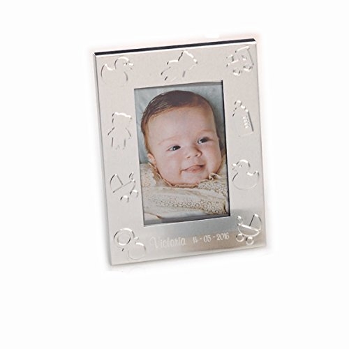 Portafoto metal con simbolos de bebe. Grabado con nombre y fecha. Pack de 15...
