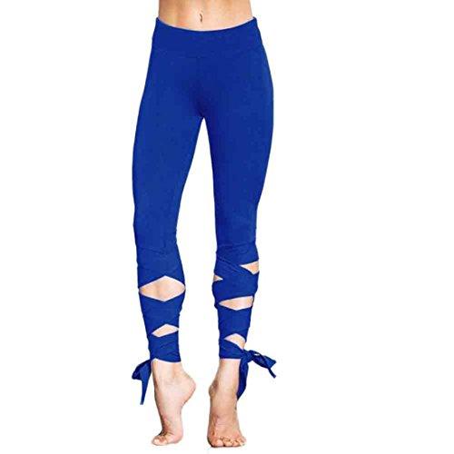 Ouneed® Femmes Workout Legging Lacet Fitness Running Pants Bleu