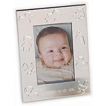 Portafoto metal con simbolos de bebe. Grabado con nombre y fecha. Pack de 15