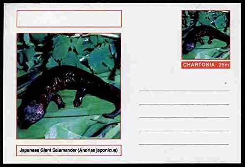 Chartonia (Fantasy) Amphibians - Japanese Giant Salamander (Andrias japonicus) postal stationery card unused and fine AMPHIBIANS SALAMANDERS JandRStamps -