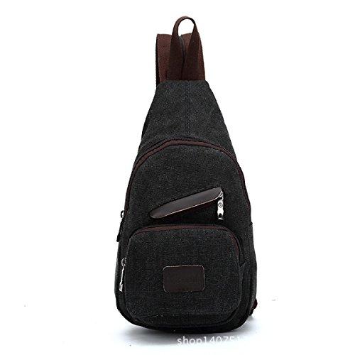 BULAGE Paket Paket Brusttaschen Rucksäcke Männer Leder Leinen Schultern Zurück Lässig Einfach Leicht Großzügig Black