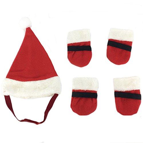 Hut Socken Set Mütze mit Pfotenschutz Rentier Rutschfeste Socken Schuh Strümpfe für Hund Hunde Katze Kaninchen Haustier für Feiertag Halloween Weihnachts Kostüm Anti-Rutsch ()