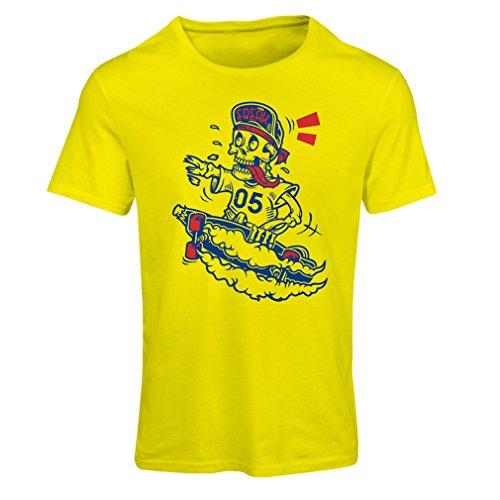 Frauen T-Shirt Der Schädel Skater, Skate-Ausrüstung, Skateboarder, Street Urban Clothing, Idee (Small Gelb Mehrfarben)