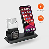 Fast Wireless Charging Station 4 in 1,USB-A Charging Output,Integrated Lightning Connector Compatible for AirPods 1,2 & Pro,iPhone SE2, iPhone 11 and Old Series, Embedded Apple Watch Magnetic Charger