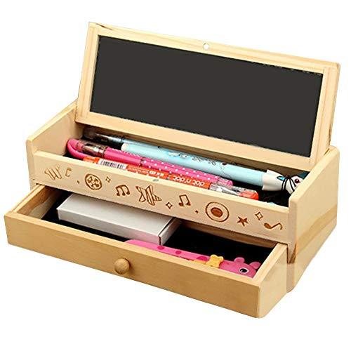 Schulmaterial Stift Bleistift Aufbewahrungsbox Schreibwaren Box Vintage Holz Bleistifthalter Craft Case Art School Kit Kreativ und praktisch (Box, Holz Bleistift)