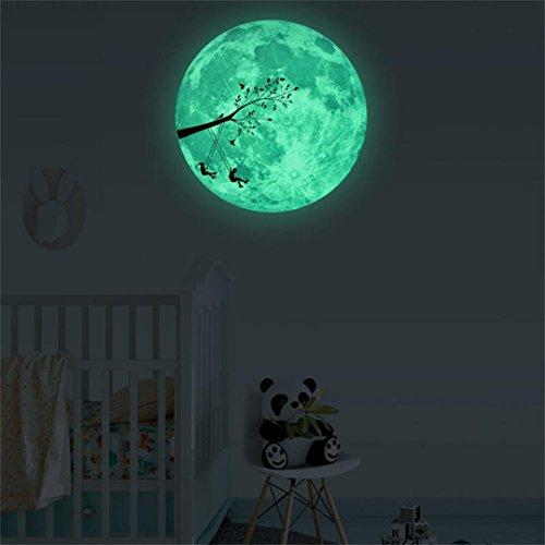 Wandaufkleber Wallsticker Ronaimck 30cm 3D großer Mond fluoreszierender Wandaufkleber entfernbarer Glühen im dunklen Aufkleber Wandtattoo Wandaufkleber Sticker Wanddeko (D)