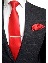 JEMYGINS Satin Cravate Homme en Soie et Pinces à cravate & Carre de poche