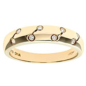 Naava Women's Eternity Ring, 9 ct Yellow Gold Diamond Ring, Rub Over Set, 0.1 ct Diamond Weight