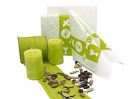 SET: Symbole Grün Kommunion Konfirmation Tischdeko Deko Weiß Kiwi