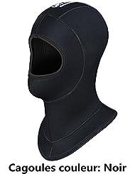 Hombre 5mm neopreno buceo bajo capot impermeable cálido pasamontañas gorro, color negro, tamaño medium