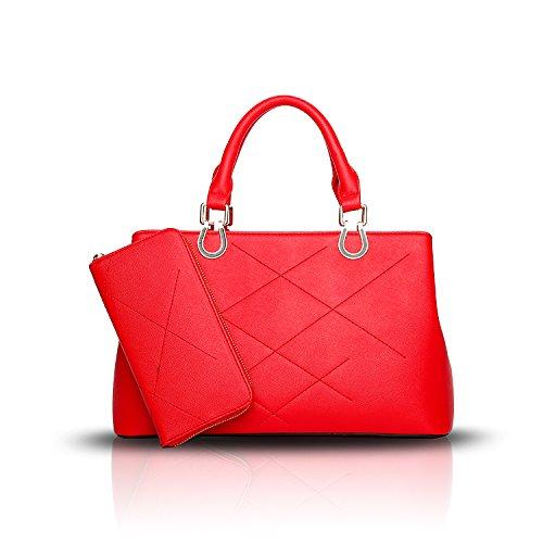 Sunas Sacchetto del messaggero + raccoglitore della spalla del sacchetto del sacchetto di modo della borsa delle signore rosso