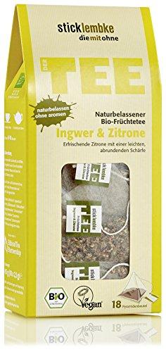 stick lembke/Pyramidenbeutel/Naturbelassener BIO Früchtetee/Ingwer & Zitrone/6er Pack (6 x 45g)