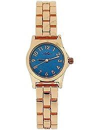 Reflex Ladies Analogue Blue Dial & Rose Tone Metal Bracelet Strap Watch LB113