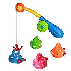 Idea Regalo - Fajiabao Giochi Bagnetto Gioco Pesca Pesci Giochi da Bagno di 4 3 Pesci Giocattolo e 1 Canna Pesca Giocattolo Prima Infanzia per Bambini Neonato