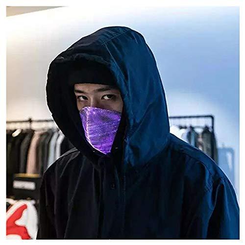Blauen Maske Geist Kostüm - Blinkende Maske LED Maske für Männer Frauen Bunte leuchtende leuchten Masken für Raves Cosplay Partys Karneval Halloween Maskerade (Blau)